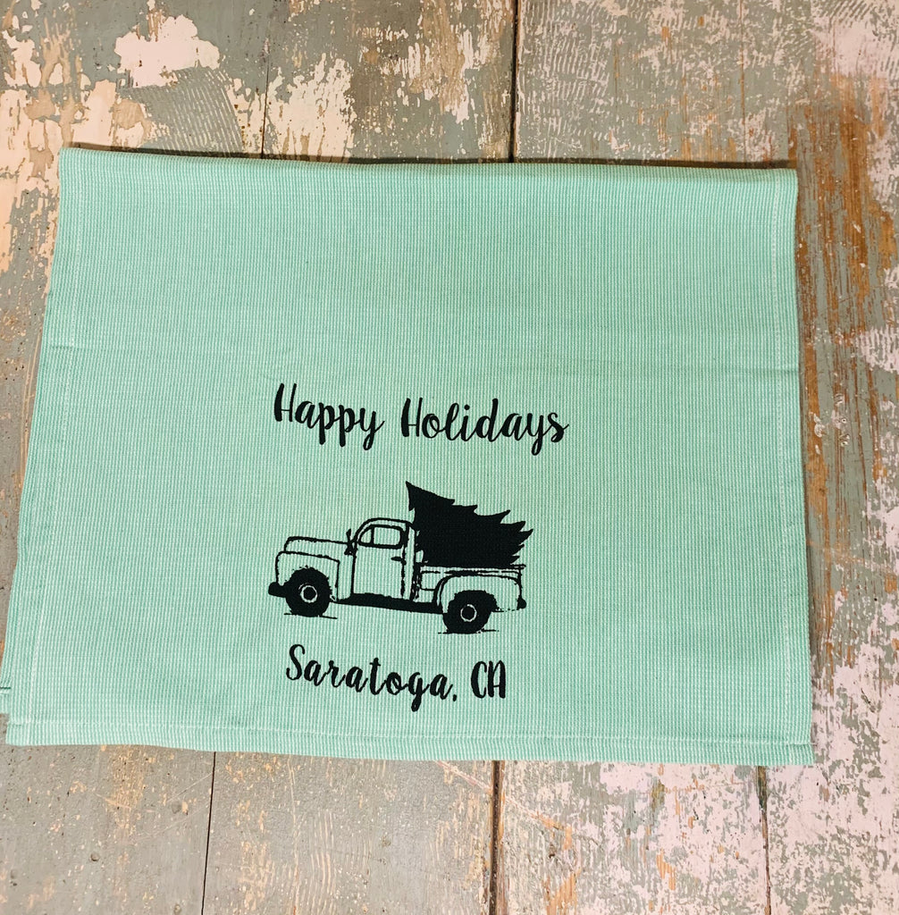 Saratoga Happy Holidays Tea Towel -  Green Waffle