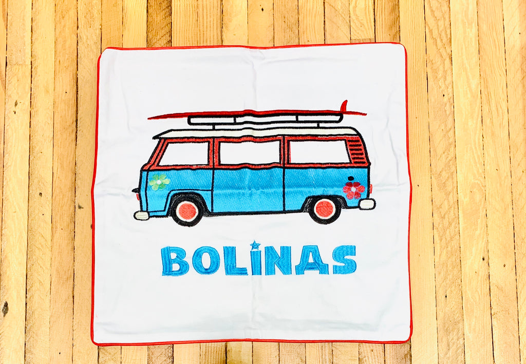 Embroidered Bolinas Van Pillow Cover