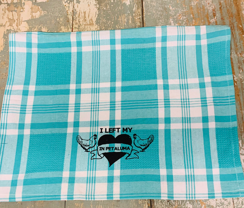 Left My Heart In Petaluma Tea Towel - Aqua Plaid