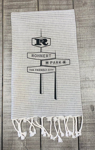 Rohnert Park Tea Towel by Luma Vintage - Tassel Stripe Grey