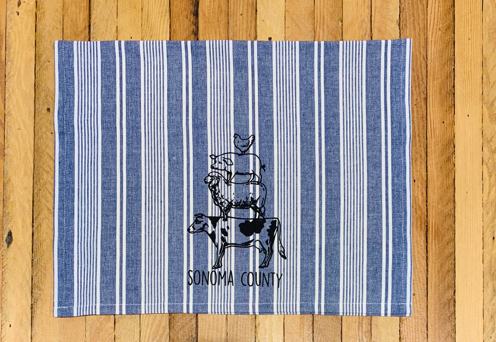 Luma Vintage Animal Stack Sonoma County Tea Towel -  Blue Stripe