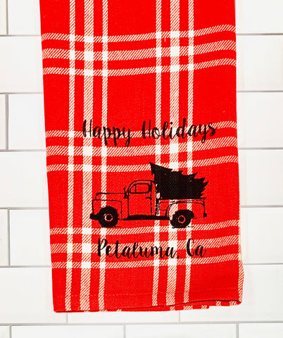 Luma Vintage Happy Holiday Petaluma Tea Towel - Flannel Plaid
