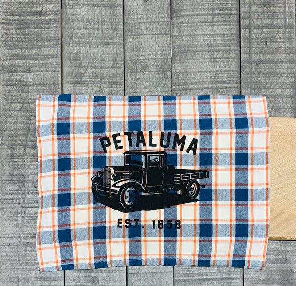 Tea Towel with Luma Vintage Truck- Petaluma Blue/Pumpkin Plaid
