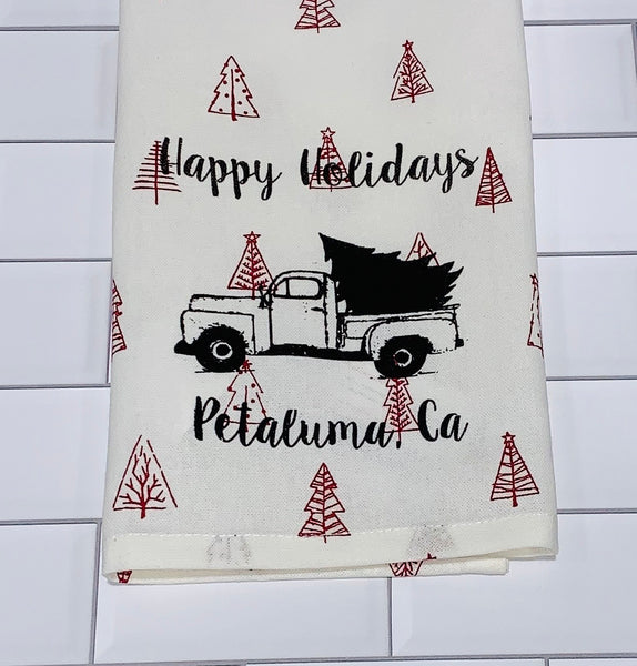 Luma Vintage Happy Holiday Petaluma Tea Towel - Red Xmas Tree
