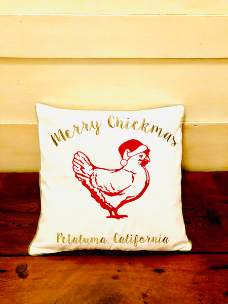 Embroidered Petaluma Merry Chickmas Pillow Cover- Luma Vintage
