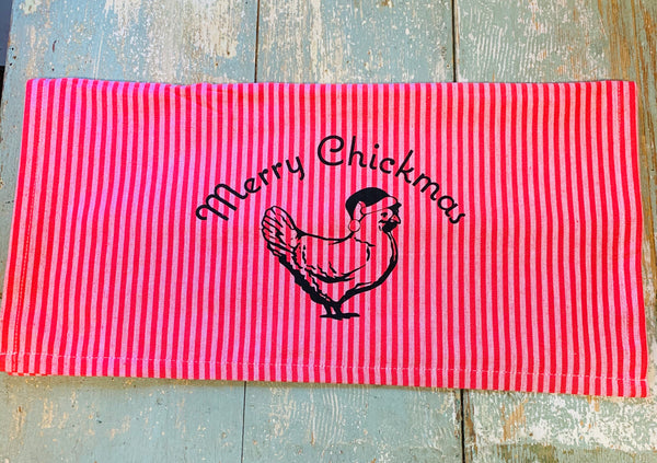 Luma Vintage Merry Chickmas (no town) Tea Towel- Red/Mauve Thin Stripe