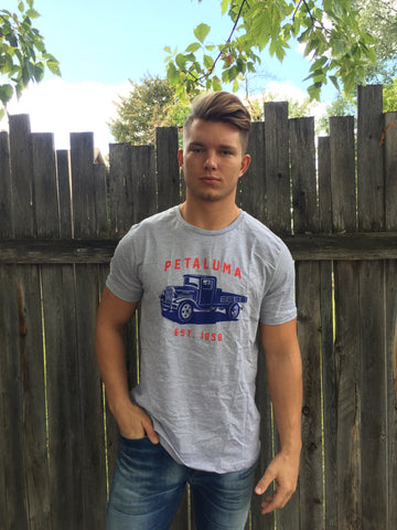 Men's T-shirt with Petaluma Truck logo in Athletic Heather