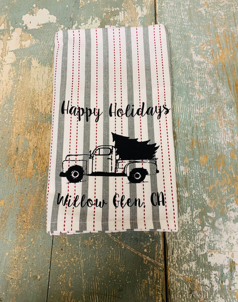 Willow Glen Happy Holidays Tea Towel - Bavarian