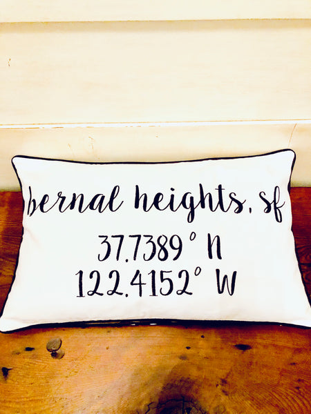 Bernal Heights Longitude Latitude Embroidered Lumbar Pillow Cover