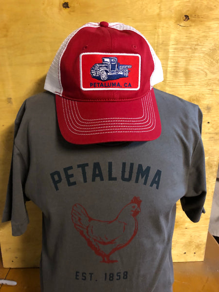 Red Luma Vintage Trucker Hat with Petaluma Truck Patch