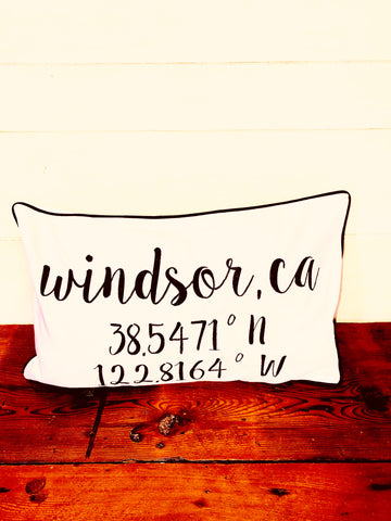 Windsor, CA Longitude Latitude Embroidered Lumbar Pillow Cover