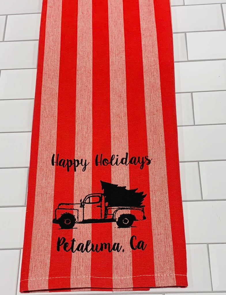 Luma Vintage Happy Holiday Petaluma Tea Towel - Red/Mauve Thick Stripe