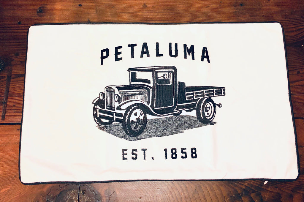 Petaluma Truck Embroidered Lumbar Pillow Cover