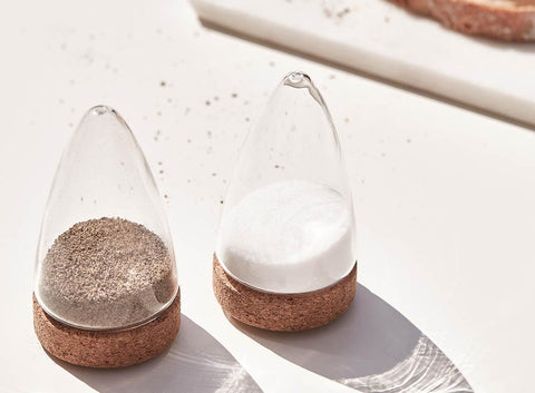 Boeien Salt and Pepper shakers, made from glass and cork