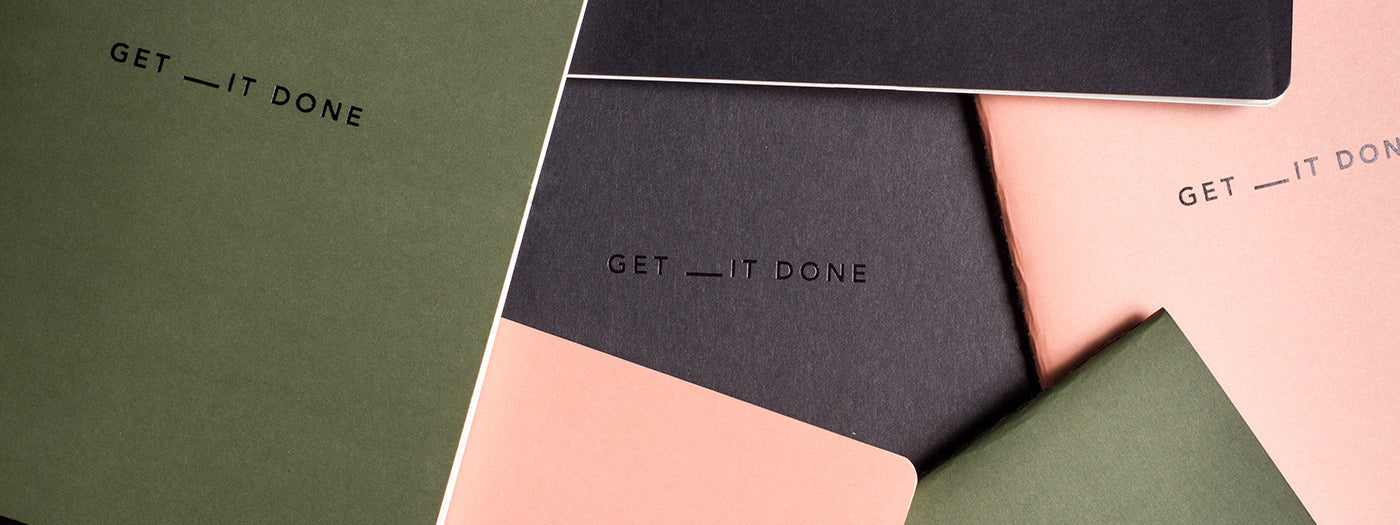 MiGoals get _it done notebook to do lists in pink, khaki and black