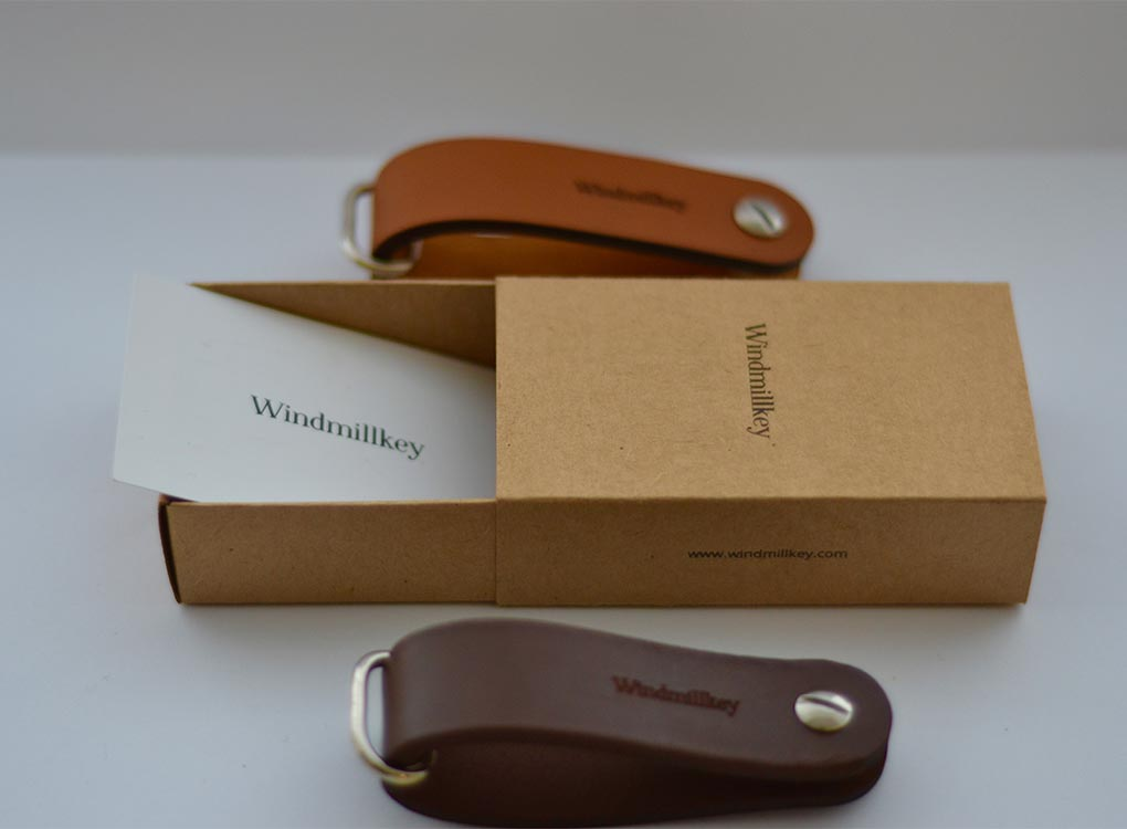 Windmillkey leather key organisers in card gift boxes