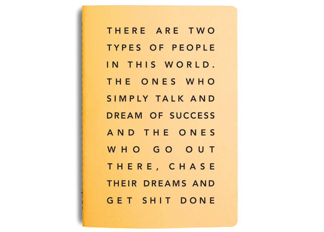 MiGoals Get Shit Done Manifesto A5 notebook with success quote on the front.