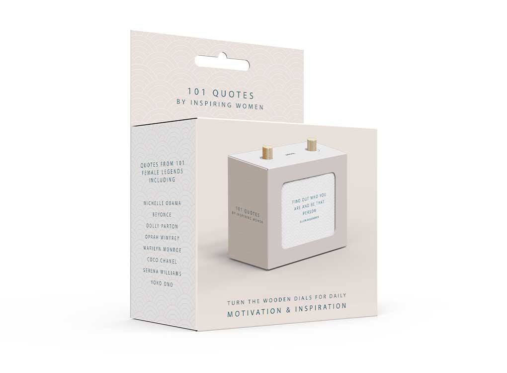 Daily inspiration and motivation from the most successful and influential women of our time. Turn the wooden pegs on this little box each day to reveal 101 quotes that will inspire you to think big and be great.WHOLESALE. WORLDWIDE SHIPPING. FREE UK SHIPPING OVER £300