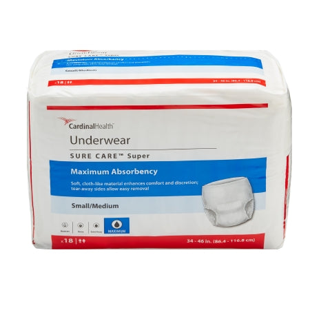 Cardinal Sure Care™ Adult Disposable Absorbent Underwear, Pull On with Tear Away Seams, Heavy Absorbency