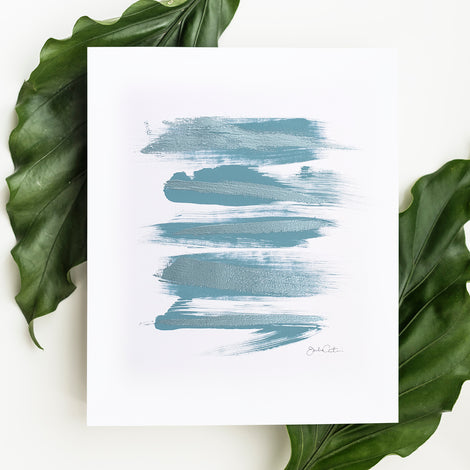 Zen Brush No. 5 in Blue - Embellished Print