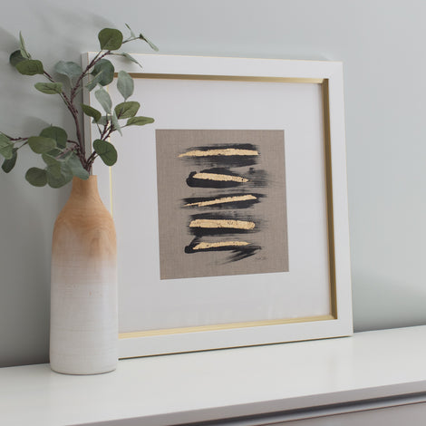 Zen Brush No. 5 - Linen Embellished Print