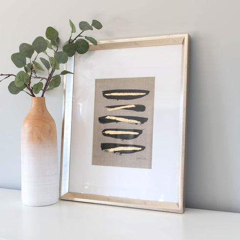 Zen Brush No. 6 - Linen Embellished Print