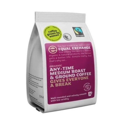 Equal Exchange Organic & Fairtrade Any-Time Medium Roast And Ground Coffeee 227g