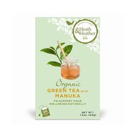 Heath & Heather Organic Green Tea & Manuka 20bags