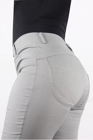 Sensual Silhouette Two Buttons Grey Bum Lifting Jeans