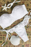 Luxurious Strapless White Lace Bandeau Bikini Top Two Piece