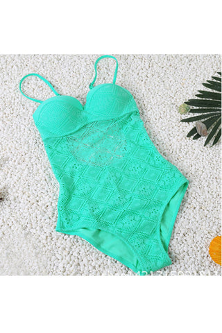 Refreshing Green Padded Clasp Teddy Swimsuit Cut Out Back
