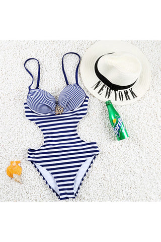 Vintage Cut Out Side Navy And White Striped Bikini One-Piece