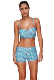 Sporty Mini Floral Underwired Plus Size 2 Piece Bathing Suits