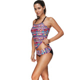 Tropical Tribal Pattern Bikini Plus Size Swimwear Halterneck