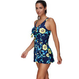 Pretty Flower Print Large Two Piece Full Figure Swimsuits
