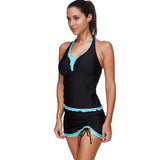Patchwork Bathing Suits Large Bust Skirt Padded Top