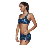 Multicolored Printing Plus Crop Top Boy Short Bathing Suit