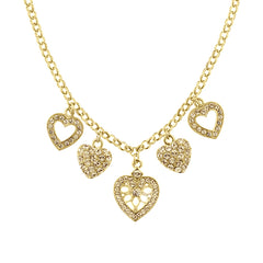 GOLD-TONE LIGHT BROWN HEART CHARM NECKLACE