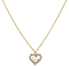 14K GOLD DIPPED CRYSTAL ACCENTED LOVE HEART PENDANT NECKLACE
