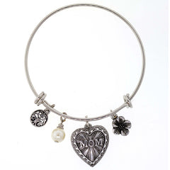 PEWTER MOM HEART FLOWER FAUX PEARL CHARM BRACELET