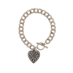 PEWTER MOM HEART CHARM TOGGLE BRACELET