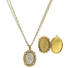 14K GOLD-DIPPED & SILVER-TONE CRYSTAL AB ANGEL LOCKET DOUBLE STRAND NECKLACE
