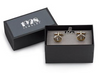 14K GOLD DIPPED CRYSTAL SMALL ROUND CUFFLINKS gift box