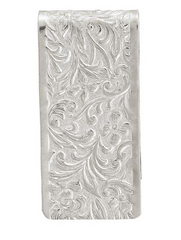1928 SILVER TONE ETCHED WIDE MONEY CLIP