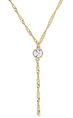 1928 14 GOLD DIPPED CRYSTAL CHAIN Y-NECKLACE 16 ADJ.
