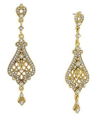 1928 14K GOLD-DIPPED FILIGREE EARRINGS SWAROVSKI CRYSTALS