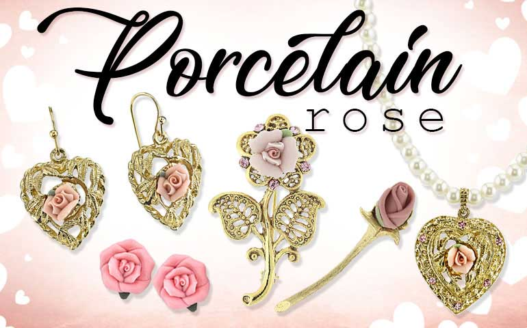 1928 Jewelry Porcelain Roses