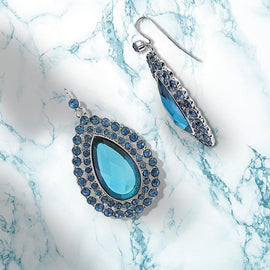 Silver-Tone Blue Large Teardrop Earrings