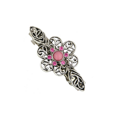 Silver-Tone Rose Crystal Flower Bar Barrette