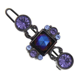 Fashion Jewelry - Black-Tone Purple and Blue Barrette